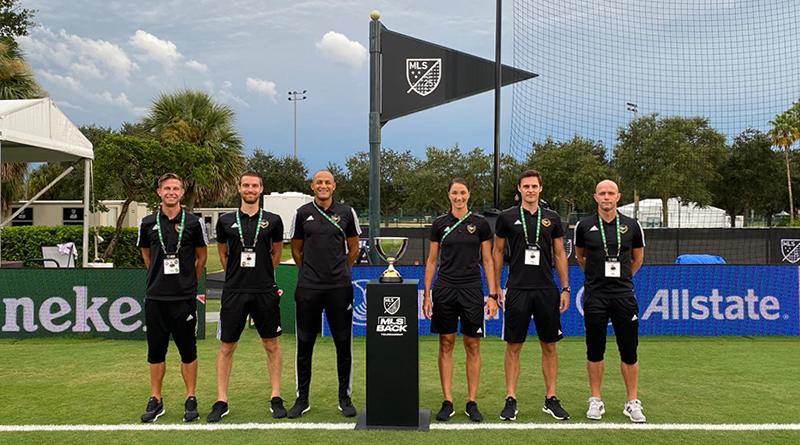 MLS is Back Final crew: Logan Brown (AVAR), Kyle Atkins (AR2), Ismail Elfath (REF), Kathryn Nesbitt (AR1), Joe Dickerson (4TH) and Allen Chapman (VAR).
