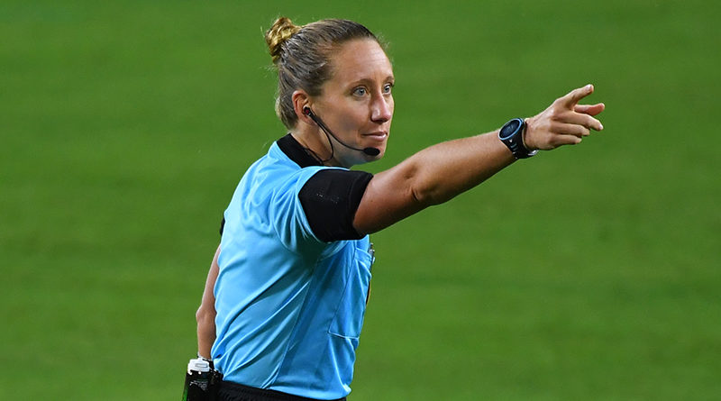 Referee Tori Penso makes a call during the first half of the match between the Nashville SC and the D.C. United at Nissan Stadium.