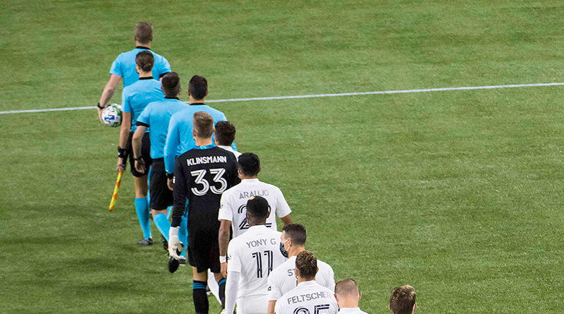 Los Angeles Galaxy take the field before a game against the Portland Timbers at Providence Park.