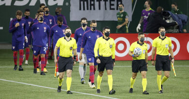 Portland Timbers and the FC Dallas take the field before a postseason game at Providence Park.