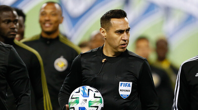 PRO referee Jair Marrufo walks out on the field before the start of a game between the Columbus Crew and the Seattle Sounders FC at Lumen Field.