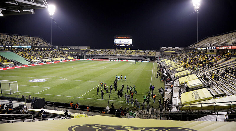 Columbus Crew SC and Seattle Sounders FC take the field before the start of MLS Cup at MAPFRE Stadium in Columbus, Ohio on December 12, 2020.