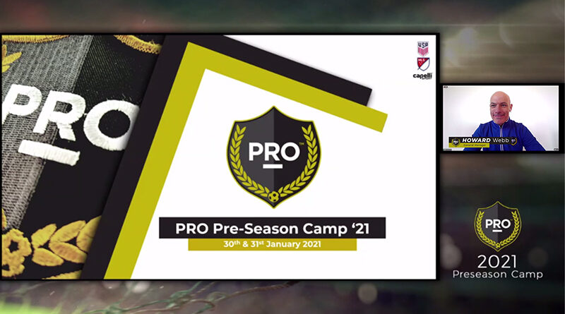 Howard Webb speaks at PRO's preseason camp in 2021.
