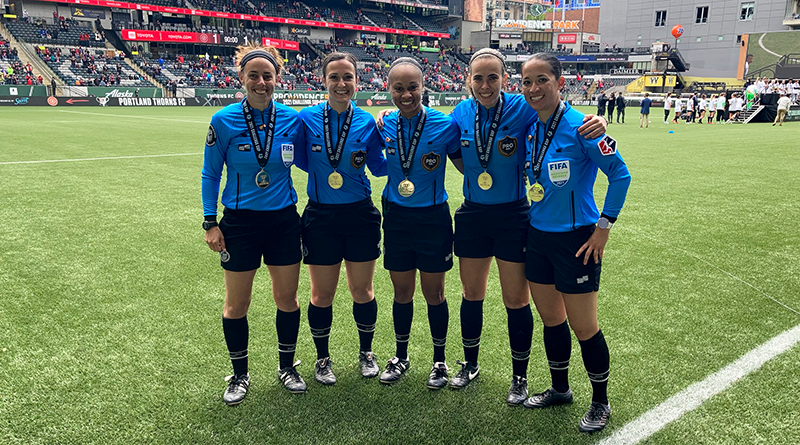 Brooke Mayo, Rachel Smith, Natalie Simon, Karen Callado, and Deleana Quan after officiating the 2021 NWSL Challenge Cup Final